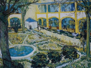 Van Gogh's painting of the garden at the hospital where he was kept.