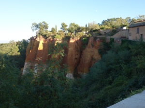 Roussillon is built on ocher cliffs and was the center of ocher production.