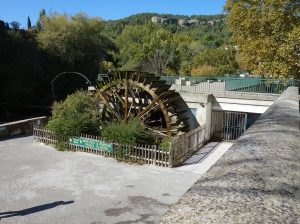 Water wheel at an old paper mill.