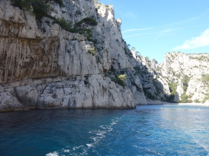 The calanques rise dramatically out of the sea.
