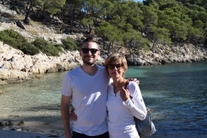 Pat and Charlie hiked down from the calanques to the beach.